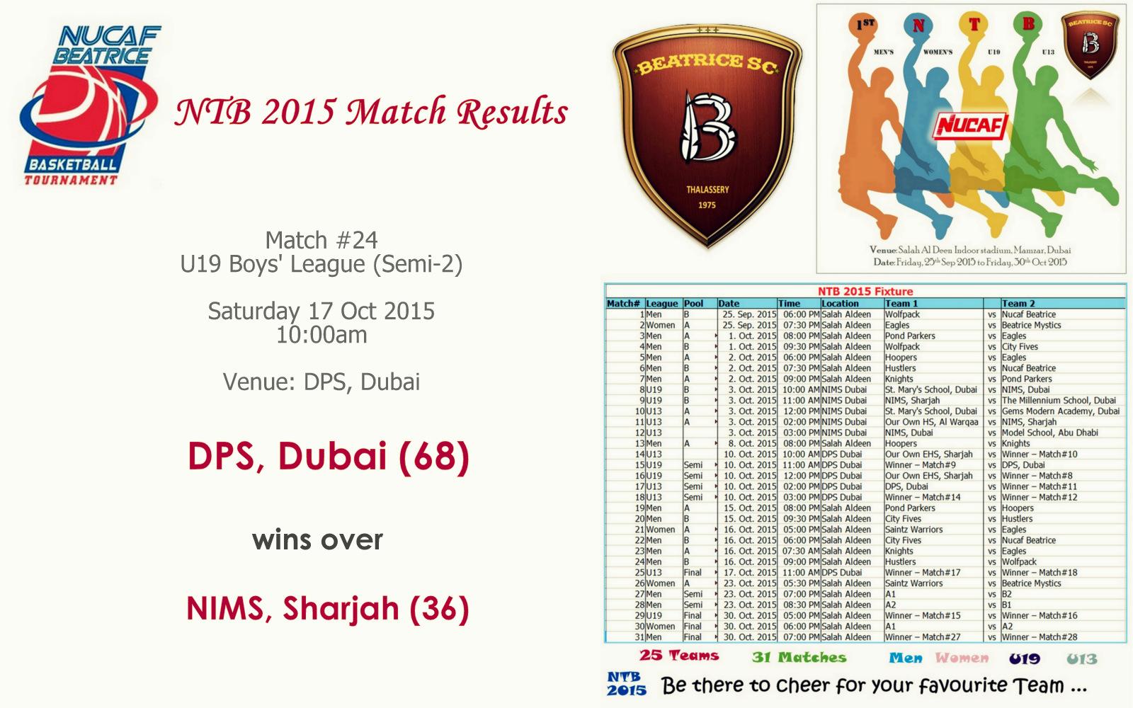NTB 2015 – Match #24 (U19 Semi 2) | NIMS, Sharjah (36) Vs DPS, Dubai (68)