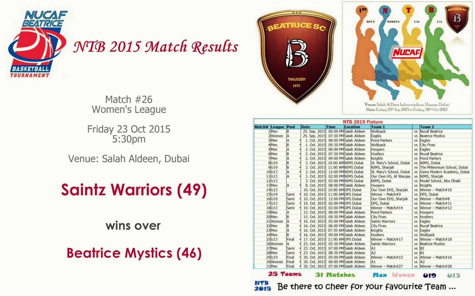 NTB 2015 – Match #26 | Saintz Warriors (49) Vs Beatrice Mystics (46)
